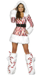 Wholesale Hot Santa Costume - Good Quality Christmas Hoodies Dress White Red Stripes Style Sexy Hot Carnival Party Show Costume Women Slim Cosplay For Adult