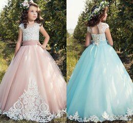 Wholesale Tulle Color Chart - Vintage Lace Girls Pageant Dresses 2018 Cap Sleeves Tulle Lace Up Back Applique Tulle Little Birthday Flower Girl Gowns Custom Made