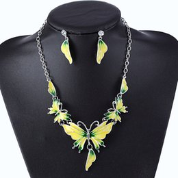 Wholesale Silver Butterfly Jewelry Set - New Fashion Drip Oil Butterfly Necklace Statement Earring Women Bohe Punk Vintage Cute Animal Crystal Collar Choker Jewelry Sets Wholesale