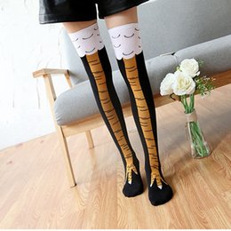 Wholesale Chicken Socks - Wholesale- 1Pair Cool Popular Fashion Women Men Unisex 3D Creative Soft Cotton Thin Thigh High Chicken Toe Feet Vintage Party Stocking Hot