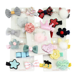 Wholesale New Flower Ribbon Design - 5Pcs Set New Different Designs Kids Lovely Hairclip Star Bow Crown Flower Print Ribbon Bow Hairpin Hair Clips Beautiful HuiLin C113-2
