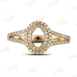Wholesale Diamond Semi Mount Gold - 4x6mm Oval 14k Gold Pave .43ct Diamond Semi Mount Ring Free Shipping wholesale rings free shipping