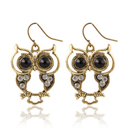 Wholesale 14k Owl - Antique gold plating owl animal earring rhinestone paved hot sale wholesale price pendant jewelry earring gold casting for women