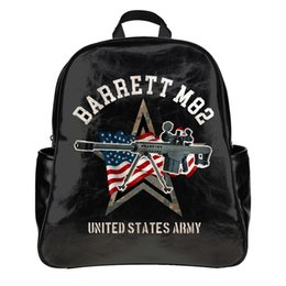 Wholesale Grenade Backpacks - Designer United States Army Arms Pistol Assault rifle Machine Gun Grenade launch Picture 3d Print Backpack School Bag Laptop PU Leather
