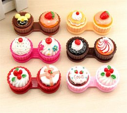 Wholesale Cake Lens Case - 50pcs New Cartoon Cute Cream Cup Cake Travel Glasses Contact Lenses Box Contact lens Case Contact Lens Storage Set X024