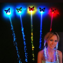 Wholesale Wholesale Fiber Optic Lighting Supply - Butterfly LED Fiber Optic Lights up Flashing Hair Flash Barrettes Clip braids Party Christmas Supplies Free Shipping ZA2009