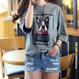 Wholesale korean basic t shirt - Wholesale- 2016 5XL 4XL 3XL Summer Korean Style Women Casual Loose Short sleeve Letter Dog Print Dark Gray Slit Plus size Basic T-shirt Top