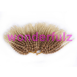 Wholesale Short Curly Synthetic Hair - Ombre blonde curly hair extensions Crochet hair braids for kids 8 inch Synthetic short blonde Ombre purple Malibob Crochet braid twist