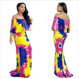 Wholesale Indian Clothing For Women - 2018 Summer African Dresses for Women Printing Dashiki Dress Robe Femme Casual Indian Clothing Plus Size Sundress M625-11