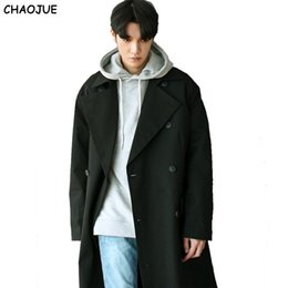 Wholesale Coats Korea Man - Wholesale- CHAOJUE 2017 Spring Latest Coat Trench Korea Loose Extra Long Double Breasted Beige Trench Coat Simple Causal Big Size Pea Coa