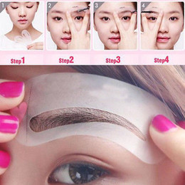 Wholesale Free Card Making - 24pcs set Reusable Eyebrow Stencil Tool Makeup Eyebrow Drawing Guide Thrush Card Molds Template Make Up Tools free shipping