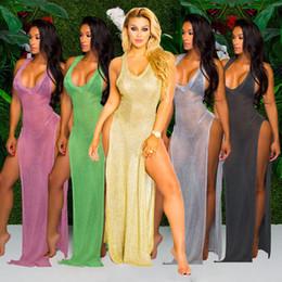 Wholesale Women Sheer Bikinis - 2017 Summer Beach Bikini Cover Ups dress Women holiday V neck split Sunscreen seaside Swimwear loose long blouses Maxi perspective dresses