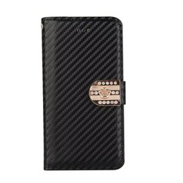 Wholesale Bling Diamond Purses - Carbon Fiber Crown Diamond Leather Wallet TPU Case Pouch For iphone 7 Plus 8 I8 iphone7 Metallic Stand Hybrid Rhinestone Bling Purse Cover