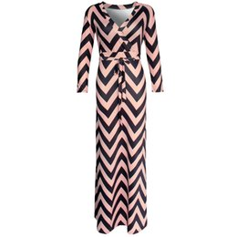 Wholesale Three Floor Sexy Dresses - Wholesale- Brand New 2016 Autumn New Women Maxi dresses vestidos Sexy V-neck striped dress three quarter sleeve long Nightclub dress 922 DX