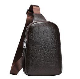 Wholesale Men Cow Bag - Fashion Daily Bag Chest Bags for Men Soft Real Cow Leather Shoulder Bag Durable Plain Bags