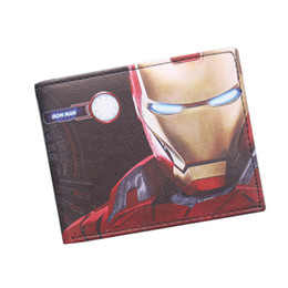 Wholesale Small Avengers Cartoon - The Avengers Iron Man Wallet Marvel Super Hero Purses Leather Small Anime Wallet Bag Credit ID Card Holder Red Wallet For Boys Girls