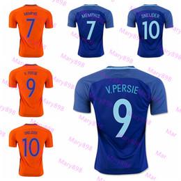 Wholesale Netherlands Away - Top Thai quality 2016 Netherlands Orange Home Soccer Jerseys Robben SNEIJDER V.PERSIE MEMPHIS 16 17 Holland Away blue Football men shirt
