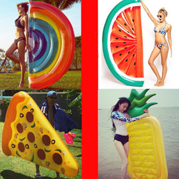 Wholesale Wholesale Adult Floats - Inflatable Pool Float Swan Floating Bed Raft Air Mattress Summer PVC Adults Toy Floating Row Play Water Sandy Beach Sea Swimming Pizza