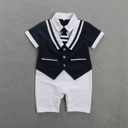 Wholesale Wholesale Navy Uniform - Summer Baby Cotton Clothes White Navy Sailor Uniforms Rompers Short Sleeve one-pieces Jumpsuit Babies Boys Clothing Gifts
