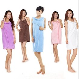 Wholesale Robe Body - Magic Bath Towels Lady Girls Wearable Fast Drying Magic Bath Towel Robes Skirt SPA Shower Towel Body Wrap Bath Robe Bathrobe KKA1584