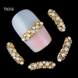 Wholesale Accessory Charm Supplier - Wholesale-10pcs 3d strip glitter rhinestone decoration for nails art crystle jewelry charm nail stud tips nail tool accessories suppliers