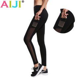 Wholesale Phone Pants - yoga pant Women phone pockets Running Tights Mesh Yoga leggings Fitness Jogging Gym Clothes Yoga Pants Elastic athletic Legging