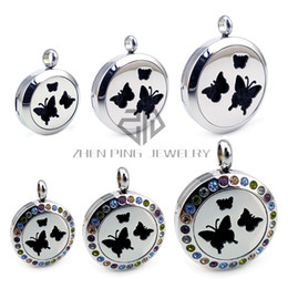 Wholesale Butterfly Locket Pendant - With Chain Round Silver Butterfly Desgin Perfume Diffuser Locket Pendant Necklace Essential Oil Fragrance Perfume Pendant Necklace