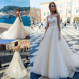 Wholesale Classy Beach Wedding Dresses - Classy 3D Floral Beach Wedding Dresses A-Line Sheer Bateau Neck Appliques Covered Buttons Bridal Gowns Tulle Beaded Bohemian Wedding Dress