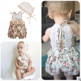 Wholesale Baby Romper Chiffon - Babies romper baby girls chiffon floral printed lace romper toddler kids embroidery lace-up bows shorts jumpsuits baby clothing T3911