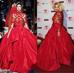 Wholesale Marchesa Lace Dress - 2017 Zuhair Murad Red Evening Dresses Rita Ora in Marchesa Fall High Neck Red Carpet Dress Celebrity Gowns Satin Ball Gown Weddings Dresses