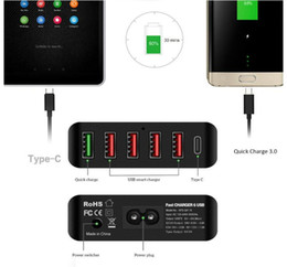 2019 cargadores hoverboard Cargador USB Estación de carga rápida QC 3.0 + Tipo C 6 puertos USB Cargador rápido de pared Adaptador de corriente Cargador de viaje para iPhone 5s 6s 7 Samsung Note 7