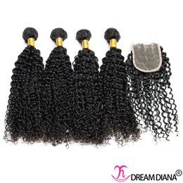 Wholesale Mongolian Closure Hair Curly - Mongolian Kinky Curly Human Hair Weaves With Closure 100% Virgin Human Hair 4 Bundles With Lace Closure Natural Black Free Shipping