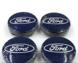 Wholesale Ford Hubs - 4pcs lot 54mm For Ford Fiesta Focus Fusion Mondeo Escap Blue and Black Car Wheel Hub Center Cover Caps Emblem Logo Badge Dustproof Cover