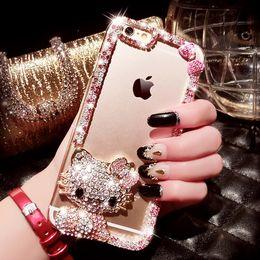 Wholesale Crown Mobile Phone Case - For iPhone 4S 5S 6s plus 7 Mobile Phone Case TPU Protective Case Crystal Rhinestone KT cat swan Black cat Crown Cat