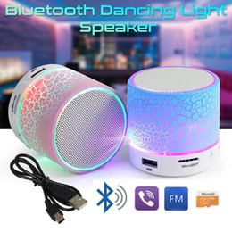 Wholesale Portable Usb Reader Speaker - Crackle Texture LED Portable Mini Bluetooth Speaker Wireless Hands Free TF USB FM Mic Blutooth Music for Mobile Phone with Retail Box