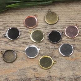 Wholesale cameo settings pendants - 12mm 14mm Round Cabochon Base Pendants Base Copper 6 Colors Plated Charm Blanks Setting DIY Cameo DIY Jewelry Accessories