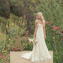 Wholesale Sweetheart Lace Column Wedding Dress - Garden Wedding Dresses Lace Appliqued A line Beach Outdoor Countryside Bridal Gown Sheath Factory Custom Make