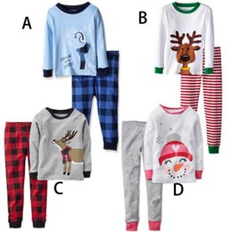 Wholesale Kids Santa Claus Pajamas - New Kids Christmas Suits 2pcs set Boys Girls Christmas Pajamas Santa Claus Deer Sleepwear for 2-7T Kids Christmas Outfits D736