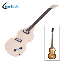 Wholesale Diy Guitar Body - Wholesale- Unfinished DIY Electric Bass Guitar Kit High Quality Basswood Body Maple Neck Rosewood Fingerboard Electric Guitarra Kit