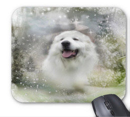 Wholesale Winter Mouse Pad - Rectangular non-slip natural rubber mouse mat great pyrenees winter scene computer accessories office supplies mouse pad