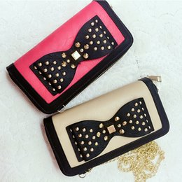 Wholesale Beige Bow Clutch - New Arrival Bow Chain Bag wallet Shoulder Crossbady Lady Credit Card Package Panelled Candy Rivet Clutch Long Zipper Mobile Phone Bag