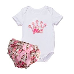 Wholesale Crown Shorts - ins Girls Baby Rompers Clothing Sets Crown Embroidery Romper Floral Shorts Pants 2Pcs Set Summer Toddler Cute Infant Clothes Outfits