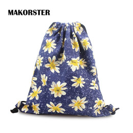 Wholesale Red Journey - Wholesale- summer Canvas backpack beach drawstring bag String Floral 20-35 Litre Fashion teenage girl Backpacks for Women journey bags