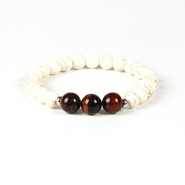 new eye ring men fashion Promo Codes - New Designs Beaded Fashion Bracelet Wholesale 10pcs lot 10mm Natural Red Tiger Eye Stone Beads White Bracelet for men