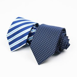 Wholesale Men S Blue Striped Ties - Classic Polyester Men 's Neck tie two color casual 8CM Wedding Striped Navy Tie Formal Wedding Party