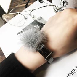 Wholesale Wristband Fur - Wholesale- Hot 2017 New Winter Fashion Women Water mink Fur ball Crystal Bracelet Opening metal wristband Jewelry Accessories Gift Bijoux