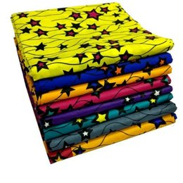 Wholesale Tops Star Designs - 6 Yards lot Top sale multi color african real super wax with stars design hollandais batik wax fabric for clothes LB1