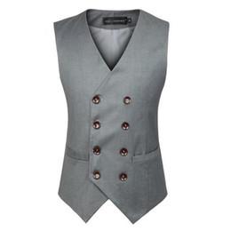 Wholesale Men Suits For Work - Wholesale- S-3XL Suit Vest Men Gray Black British Double Breasted V Neck Cotton Solid Wedding Work Waistcoats For Men Plus Size Jacket