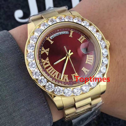Wholesale Geneva Diamond Watches Men - 2017 41mm Luxury Brand 18K Gold President Day-Date Geneva Men Big Diamonds Dial Bezel Automatic Wrist Watch role AAA Men's Casual Watches