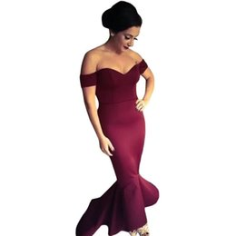 Wholesale Cheap Dresses For Night - Cheap!Maroon  Navy Off-shoulder Elegant Mermaid Dress Summer Autumn 2017 Women Formal Dresses For Special occassion R80095